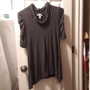 Grey Babydoll Tunic Top Rouched Sleeves